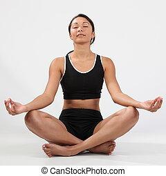 niña, postura, meditación