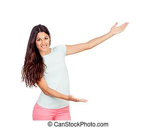 niña, presentación, brazos