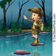 niña, río, sobre, roca