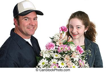 niña, recibe, flores