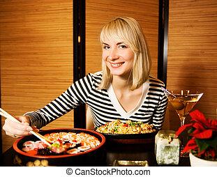 niña, restaurante