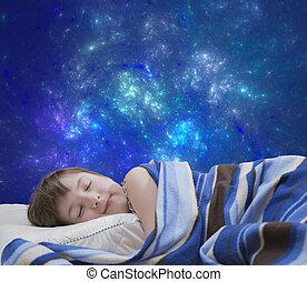niña, resumen, plano de fondo, sueño