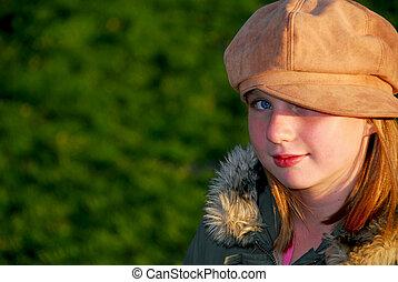 niña, retrato, exterior