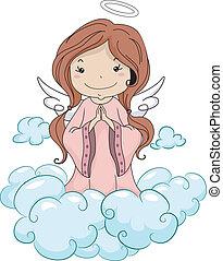 niña, rezando, ángel