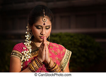 niña, rezando, indio, joven