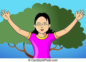 niña, rogar, dios, árbol