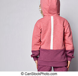 niña, rosa, bebé, trasero, hoodie, pelo, rubio, moda,...