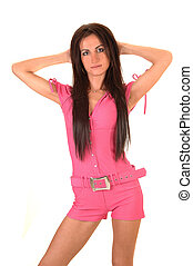 niña, rosa, jumpsuit.