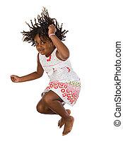 niña, saltar, adorable, africano