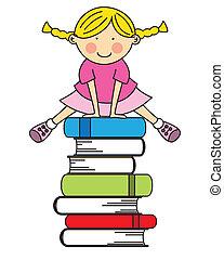 niña, saltar, algunos, libros