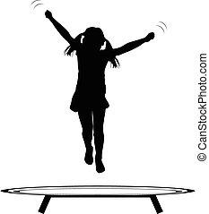 niña, saltar, trampolín