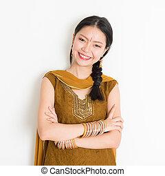 niña, sari, indio, chino