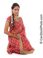 niña, sari, indio, ropa
