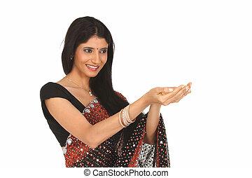 niña, sari, indio, tenencia