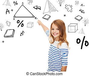 niña, señalar con el dedo hacerlo/serlo, triángulo, en, virtual, pantalla
