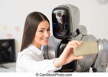 niña, selfies, elaboración, robot, encantado