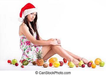 niña, sentado, entre, fruits