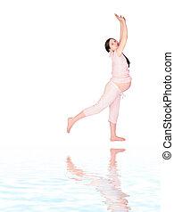 niña, sideview, ejercicio, embarazada