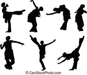 niña, silhouettes-1, bailando