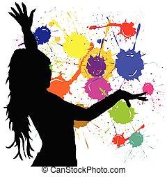 niña, silueta, bailando