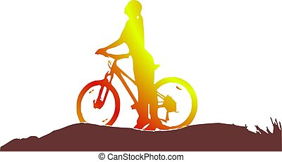 niña, silueta, bicicleta