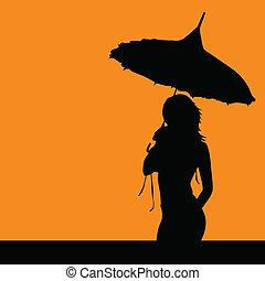 niña, silueta, con, paraguas, vector, ilustración