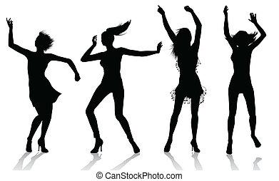 niña, siluetas, bailando