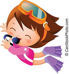 niña, snorkeling