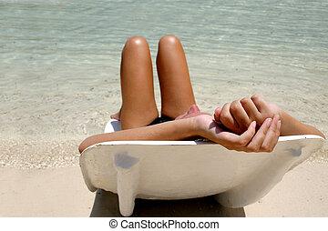 niña, sol, lounger
