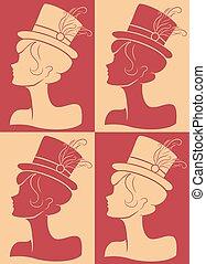 niña, sombrero, burlesco, silueta