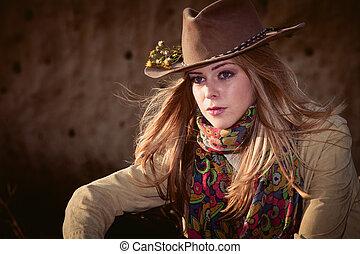 niña, sombrero, vaquero