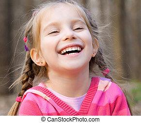 niña, sonriente