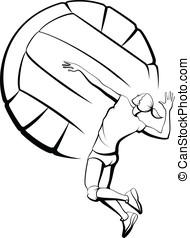 niña, spiking, voleibol