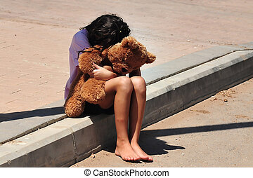 niña, sufre, doméstico, joven, violencia