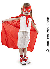 niña, superhero, rojo