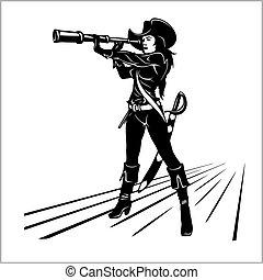 niña, telescopio, pirata