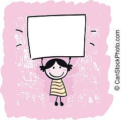 niña, tenencia, bandera, feliz, vacío, ilustración, lindo, -, blanco, caricatura
