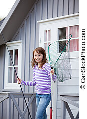 niña, tenencia, red pesca barra