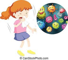niña, tos, estornudo, teniendo, microbios