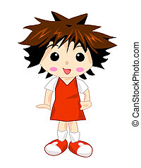 niña, uniforme de la escuela, rojo