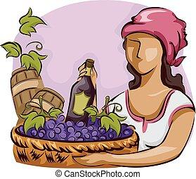 niña, uvas de vino