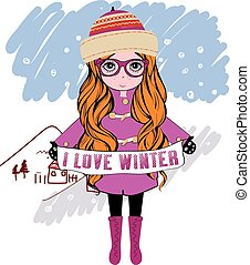 niña, vector, invierno, ilustración
