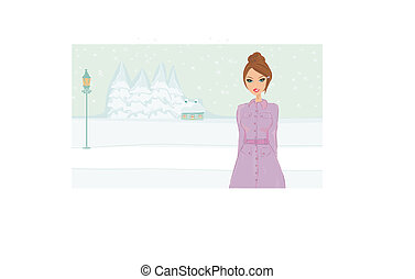 niña, vector, -, invierno, ilustración