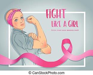 niña, vector, puño, inspirado, girl., como, feminista, ...