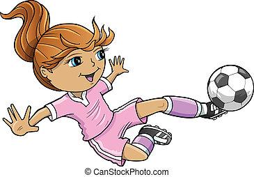 niña, verano deportivo, futbol, vector