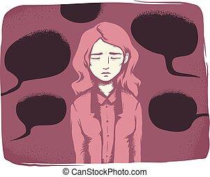 niña, verbal, hostigamiento, ilustración