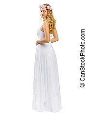 niña, vestido, blanco, joven