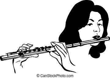 niña, viento, juegos, instrumento musical, flauta