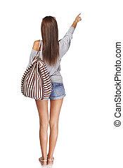 niña, vista, mochila, espalda