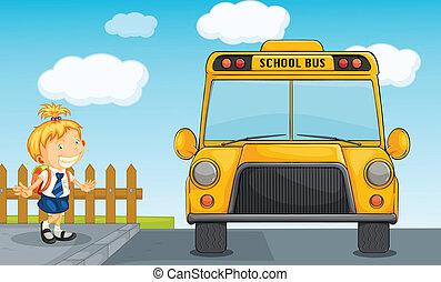 niña, y, eduque autobús